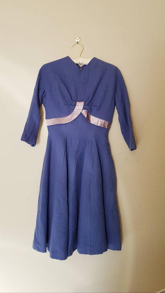 1950s stunning wool winter swing dress S