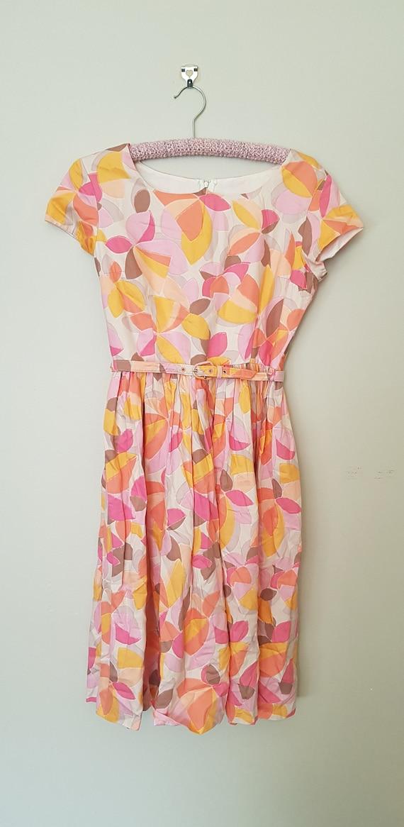 1950s abstract magnolia print dress S