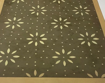 Ready to ship! 2' x 3' Canvas Floorcloth  - Dark Green with Bronze marbling, light yellow flowers - small Floor Cloth Area Rug