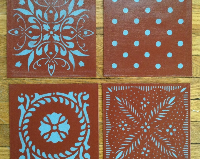 """Painted Canvas Trivet - 8"""" x 8"""" - Light Blue on Barn Red - by Black Horse Floorcloths"""