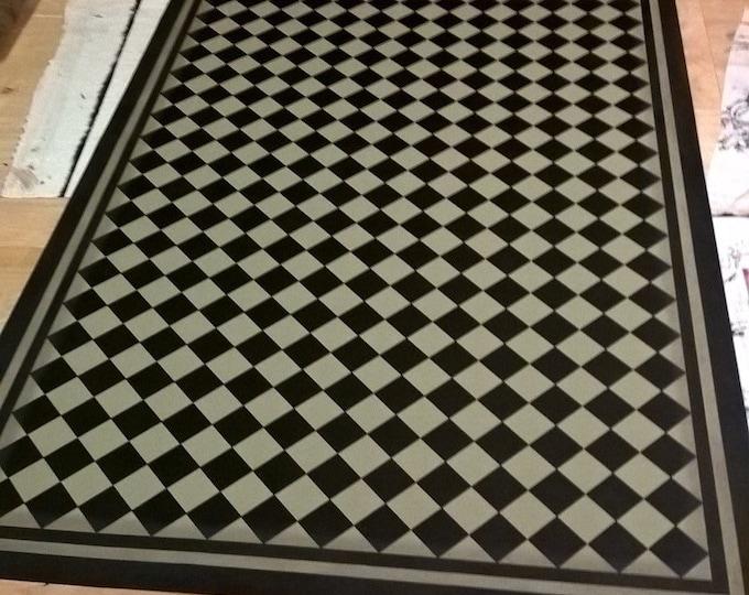 Custom Order Canvas Floorcloth - Mini Black Diamonds on Hampshire Gray (green-grey) - Black Horse Studio original - Jodi Myers