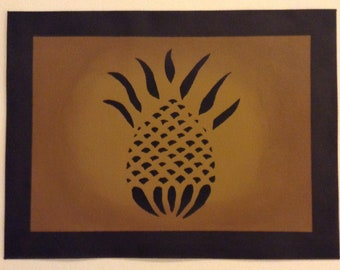 "12"" x 16"" Painted Canvas Placemats - Black Pineapple and Solid Border on Graham Cracker Tan - custom order"