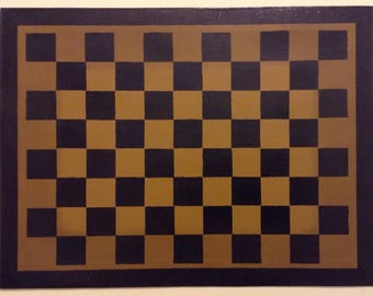 "12"" x 16"" Painted Canvas Placemats - Black Checkerboard on Graham Cracker Tan"