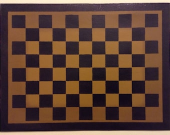 "Ready to Ship! - 12"" x 16"" Painted Canvas Placemats - Black Checkerboard on Graham Cracker Tan"