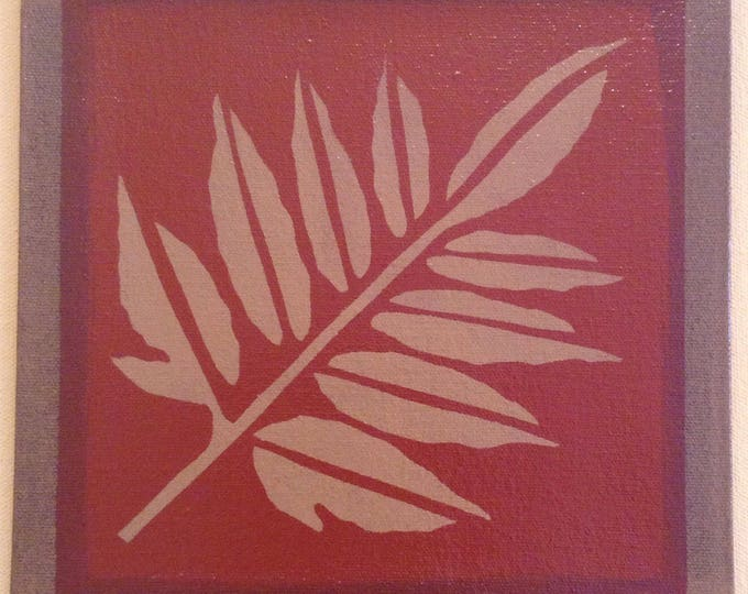 "Painted Canvas Trivet - 8"" x 8"" - Fall leaf - tea red (rust) and tan - by Black Horse Floorcloths"