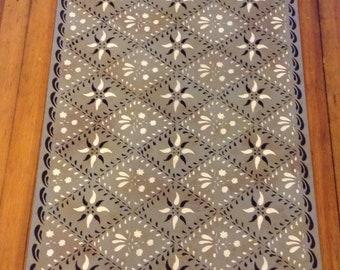 Custom Canvas Floorcloth - Wayside Inn Design Black and Ivory on Mottled Grey - by Black Horse Studio/Jodi Myers - choose your size