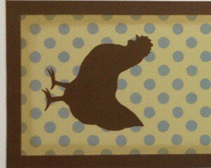 Custom Hand Painted Canvas Table Runner - Roosters / Chickens and Polka Dots - Tan, Brown, Light Blue - by Black Horse Floorcloths