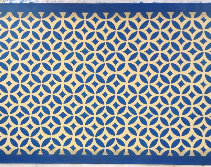 3' x 5' Custom Canvas Floorcloth - New England Design - Isaac Buck House - Blue and Yellow - Floor Cloth Area Rug - by Black Horse Studio