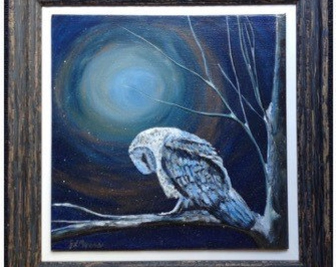 Original Acrylic Painting on Canvas in Rustic Frame - Sleeping Owl titled Nighttime Blues