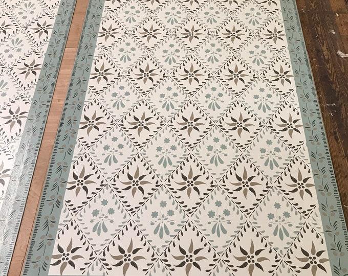 Custom Canvas Floorcloth - Wayside Inn Design - Teal blue, White, gray - by Black Horse Studio/Jodi Myers - choose your size