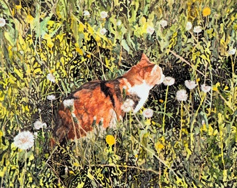 "Limited Edition Print ""Meandering Orange"" from original watercolor, ink - tiger calico cat"