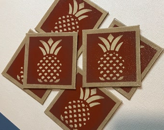 "Set of 6 coasters - 4"" x 4"" Painted Canvas Coaster - Colonial Pineapple - tea red (rust) and light beige - by Black Horse Floorcloths"