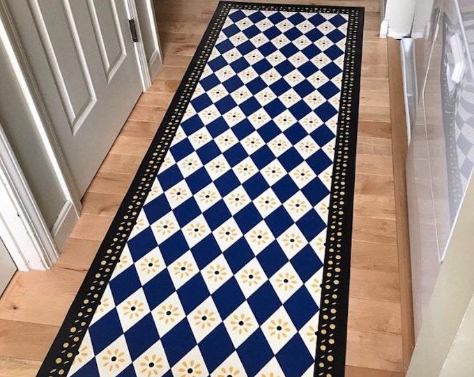 Custom Canvas Floorcloth - Diamonds and Daisies - Blue, White, Black, Yellow - Black Horse Floorcloths by Black Horse Studio