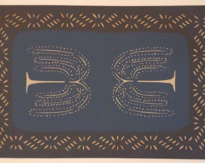 2' x 3' Canvas Floorcloth Light Beige Willow Trees on Philipsburg Blue - Floor Cloth Area Rug - Custom Order by Black Horse Studio