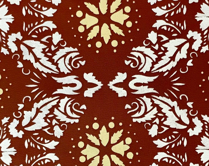 """12"""" x 38 1/2"""" Victorian Table Runner - Painted Canvas by Black Horse Floorcloths - Tea Red, Ivory White and Yellow"""