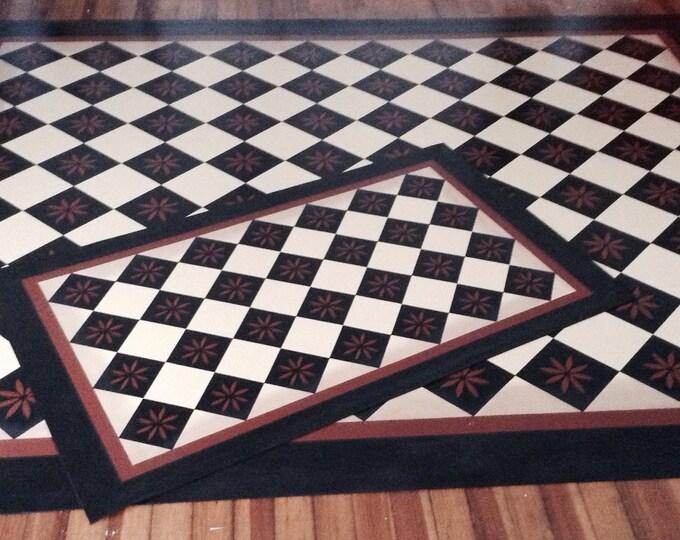 Custom Canvas Floorcloth - Primitive Diamond - Black and Tea (rust color) on Milky Way  (Creamy White) - by Black Horse Studio/Jodi Myers