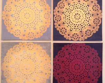 "Painted Canvas Trivet - 8"" x 8"" - Doily designs - by Black Horse Floorcloths"