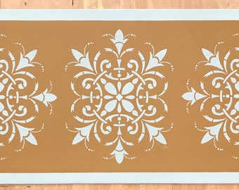 "Table Runner - 12"" x 30"" - Hand Painted Canvas - by Black Horse Floorcloths - Graham Cracker Tan with Light Blue"