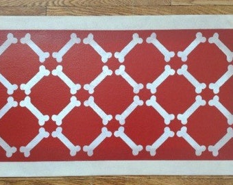 "Small Dog Canvas Pet Placemat - Food Dish Mat - Floorcloth - Bones on Red - 13"" x 23"" - custom order"