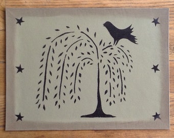 "Last One!  10 1/2 x 14"" - Small Painted Canvas Placemat Table Mat - Black Willow Tree on Greenish/Gray"