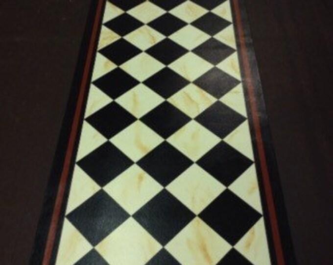 Custom Floorcloth - Black Diamonds on Marbled Ivory with Black and Tea (reddish brown) Border - Area Rug