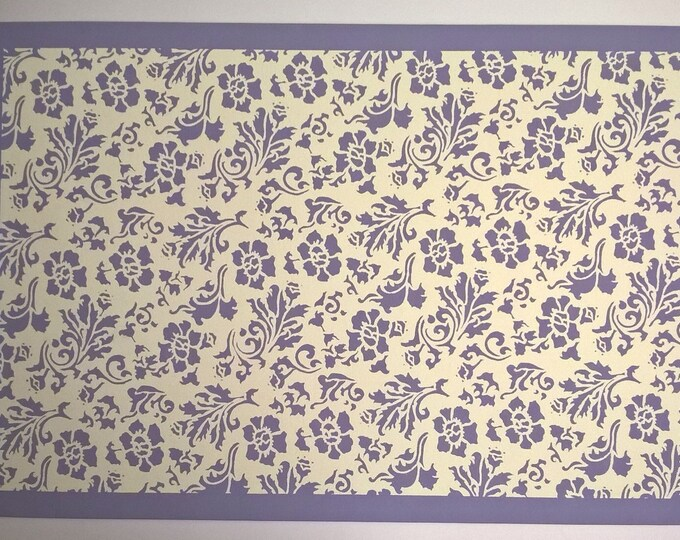 2' x 3' Canvas Floorcloth - Lilac and Cream - by Black Horse Studio - Floral - hand painted floor cloth
