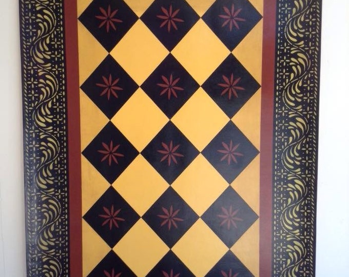 4' x 6' - Canvas Floorcloth Primitive Diamond with Wayside Inn Border -  Black and Tea Red on Cornhusk Yellow - Area Rug