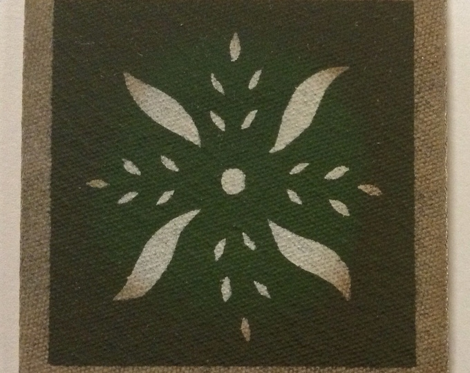 """4"""" x 4"""" Painted Canvas Coaster - Pinwheel - Maritime White and Herb Garden Green - by Black Horse Floorcloths"""