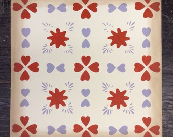 "24"" x 24"" Floorcloth - Hearts - Lilac, Red, off white - by Black Horse Studio"