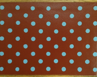 "12"" x 16"" Painted Canvas Placemats - Light Blue Polka Dots on Tea (rust color)"