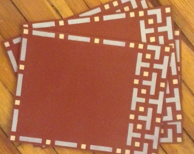 "Set of 4 Ready to go!  13"" x 17"" Painted Canvas Placemats - Retro, Art Nouveau, Fretwork grey, gold, and chili powder red."