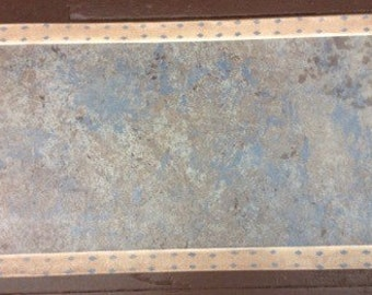 "Painted Canvas Mini Floorcloth Pet Placemat, Table or Shoe Mat blue/brown marbled - 13""x 23"" - Ready to Ship!"