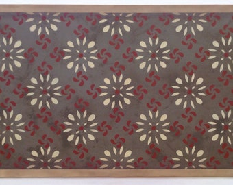 "ReadyMade! 28 1/2"" x 58 1/2"" (2' 4.5"" x 4' 10.5"") Colonial Canvas Floorcloth - Area Rug/Runner - by Black Horse Studio - artist Jodi Myers"