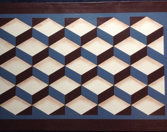 Custom Canvas Floorcloth - Tumbling Blocks - Dark Brown, Ivory, and Philipsburg Blue - Floor Cloth - by Black Horse Studio/Jodi Myers