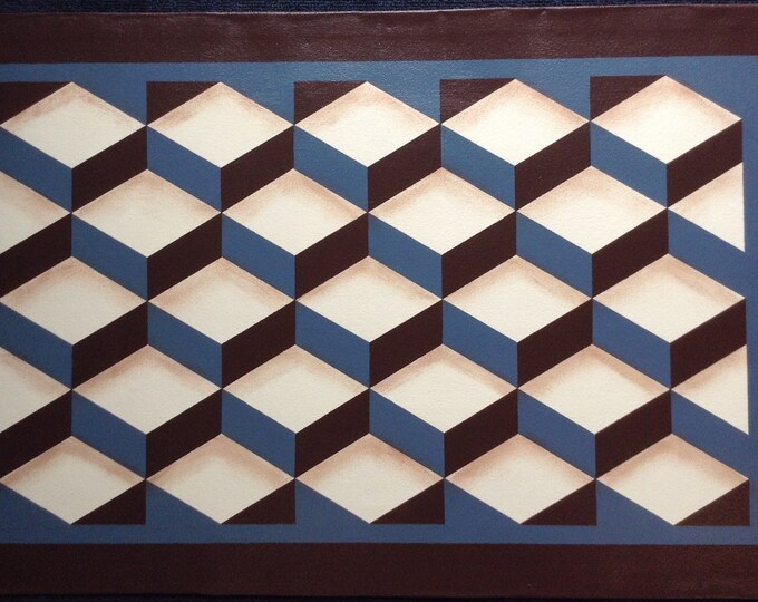 Custom Canvas Floorcloth - Tumbling Blocks - Dark Brown, Ivory, and Philipsburg Blue - Floor Cloth - by Black Horse Studio/Jodi Myers