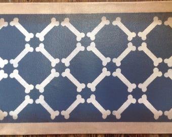"Small Dog Canvas Pet Placemat - Food Dish Mat - Floorcloth - Bones on Phillipsburg Blue - 13"" x 23"" - custom order"