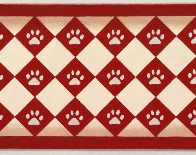 """Ready Made! - X-Small Dog/Cat Canvas Pet Placemat - Food Dish Mat - Floorcloth - 9"""" x 16 1/2"""""""