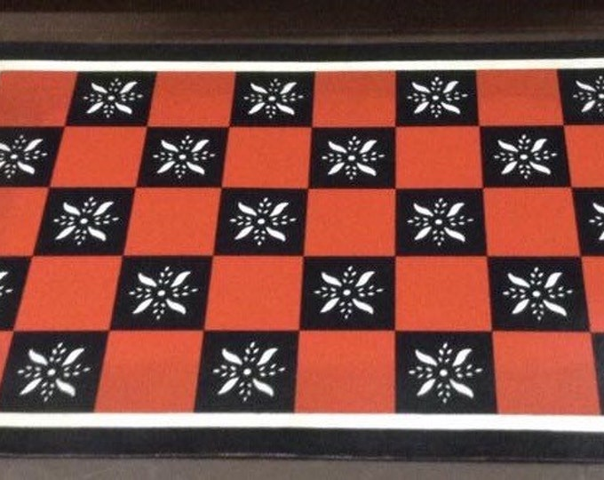 Custom Canvas Floorcloth - Red and Black Squares with Cream Pinwheels
