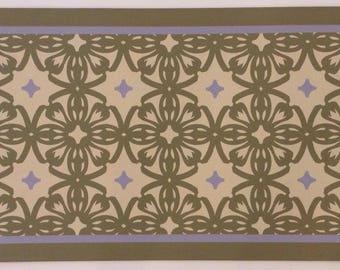 Custom Canvas Floorcloth - Victorian Tile - Sage Green, Lt. Tan, Lilac - Area rug Black Horse Floorcloths by Black Horse Studio/Jodi Myers