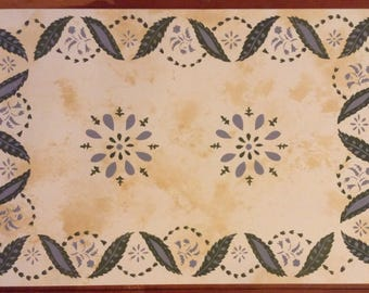 Custom Canvas Floorcloth - Green and Lilac on Mottled Ivory - by Black Horse Floorcloths - Floor Cloth - Area Rug - Choose Your Size