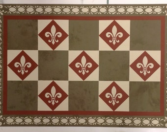 Custom Canvas Floorcloth - Fleur-de-lis Checks and Diamonds - Mottled Olive Drab Green, Tea red, Light Beige - Area Rug