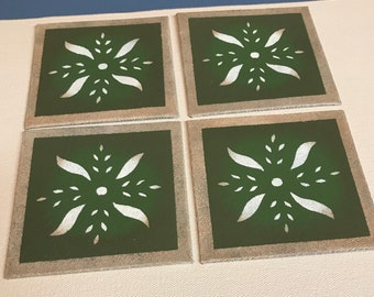 "Set of 4 - 4"" x 4"" Painted Canvas Coaster - Colonial Pinwheel - Maritime White and Herb Garden Green - by Black Horse Floorcloths"