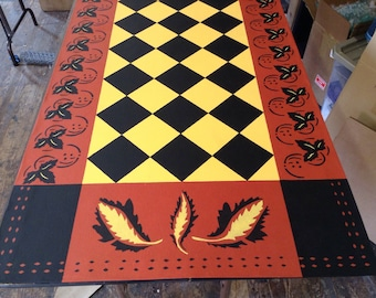Custom Canvas Floorcloth Area Rug/Runner - Colonial Leaf Diamond Design - Black, Yellow, Red - by Black Horse Studio - Artist Jodi Myers