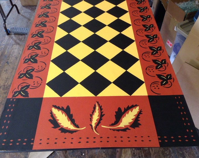 Custom Canvas Floorcloth Area Rug/Runner - Colonial Leaf Diamond Design - Black, Yellow, Red - by Black Horse Studio - Artist Jodi Myers