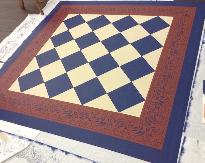 Custom Canvas Floorcloth - Dark Creek Blue Diamonds, Grant Beige, and Tea red - by Black Horse Studio/Jodi Myers