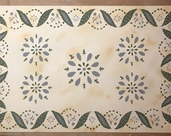 Custom Canvas Floorcloth - Green and Puritan Gray on Mottled Ivory - Choose your size - Floor Cloth - Area Rug - Hand Painted Victorian