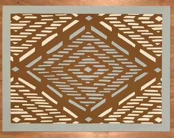 "12"" x 16"" Painted Canvas Placemats - White & light blue diamond dashes on Tan - Ready to Ship!"