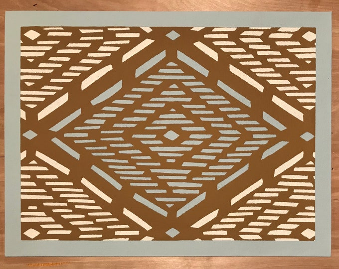 "Ready to Ship! - 12"" x 16"" Painted Canvas Placemats - White & light blue diamond dashes on Tan by Black Horse Floorcloths"