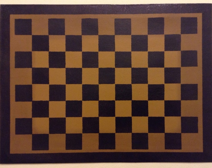 "12"" x 16"" Painted Canvas Placemats - Black Checkerboard on Graham Cracker Tan - custom order"