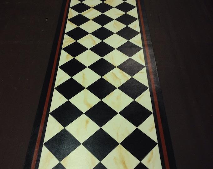 Custom Canvas Floorcloth - Black Diamonds on Marbled Milky Way (Creamy White), and tea - by Black Horse Studio/Jodi Myers